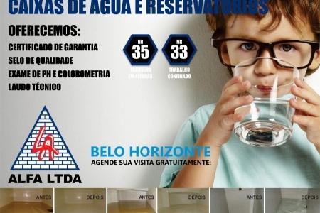 Limpeza, impermeabilização e desinfecção de caixa d'água e reservatório