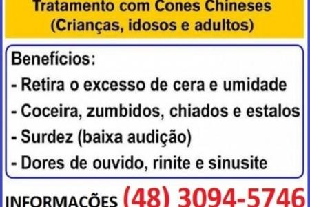 Cone Chinês -  Limpeza de Ouvidos - São José SC - Dé Schmitz - (48) 99131-9240